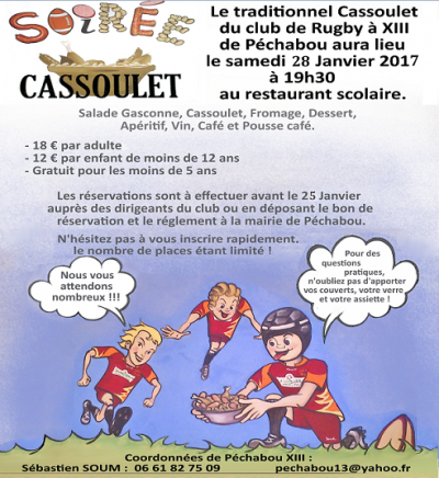 Traditionnel cassoulet du rugby à XIII